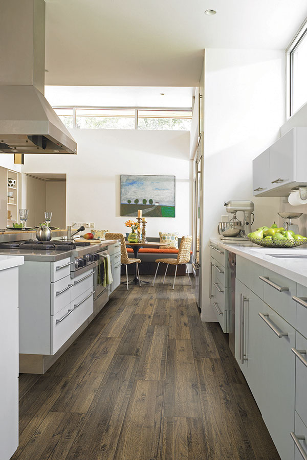 modern kitchen with vinyl floors